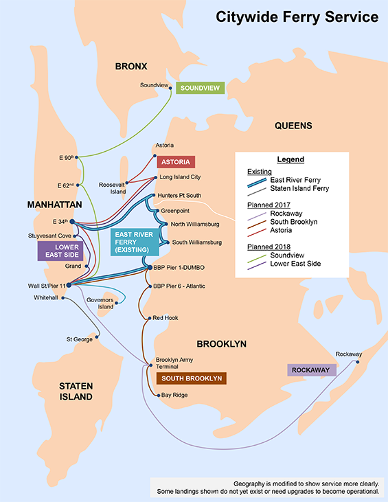 The EDC's map of Citywide Ferry Service shows routes to be launched in two phases. The Astoria, South Brooklyn, and Rockaway routes will begin operation in 2017, and the Soundview and Lower East Side routes in 2018. (map credit: Economic Development Corporation).
