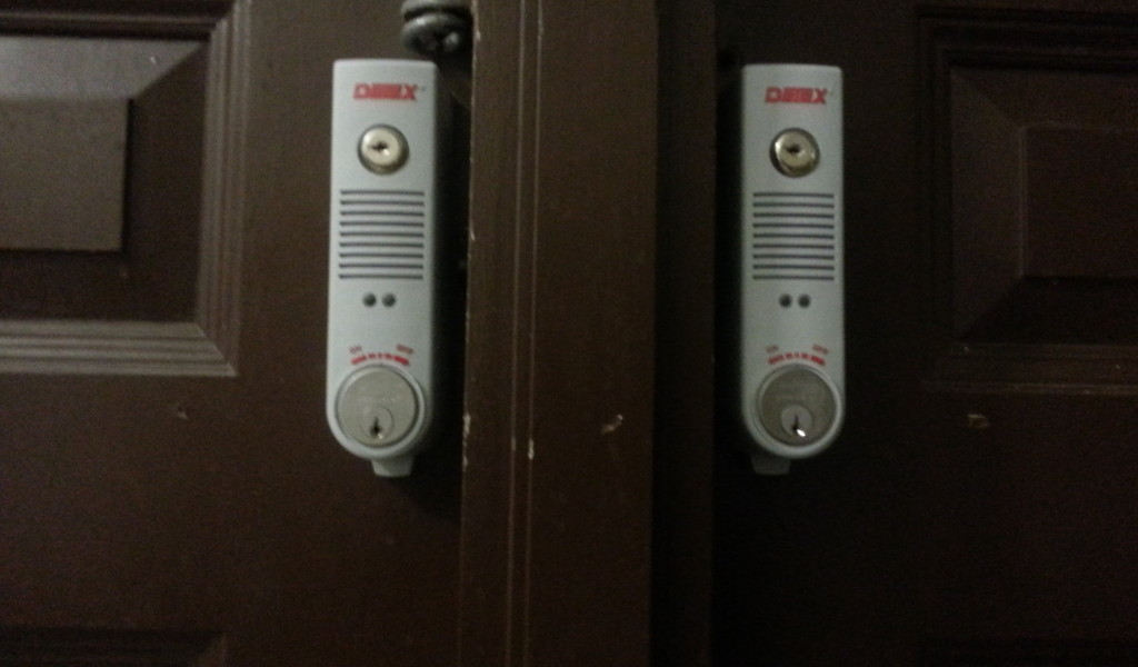 An example of the new alarms placed on the doors at Curtis High School in Staten Island, New York