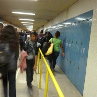 Hillcrest students rush to class before the late bell rings.